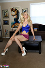 Sexy Blonde Jess Gets Naked From A Slutty School Girl Outfit - Picture 1