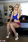 Sexy Blonde Jess Gets Naked From A Slutty School Girl Outfit - Picture 2